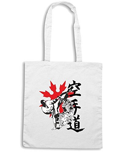 T-Shirtshock - Bolsa para la compra T0402 karate arti marziali Blanco