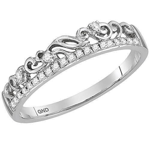 - 14k White Gold Diamond Floral Accent Fashion Ring Stackable Band Style 1/12 ct