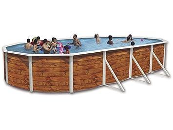 Piscina acero ovalada imitacion madera 5,50x3,66 altura 1,20m 8116
