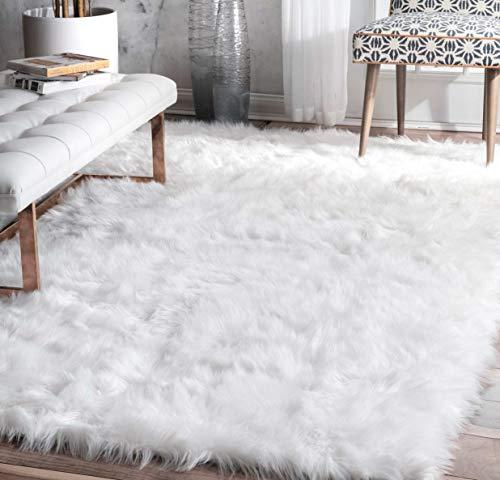 (Flokati Rug 5x8, White Sheepskin Rug Synthetic Indoor Mat for Bedroom Dining Living Room Rectangle Carpet Solid Patterned,)