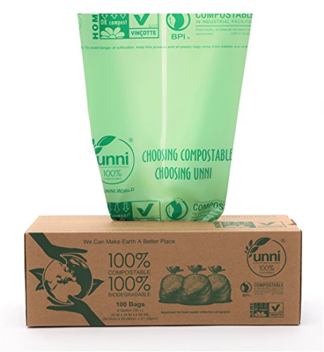 Price comparison product image UNNI ASTM6400 Certified 100% Compostable Bags, 8 Gallon / 30 Liter,  100 count,  Heavy Duty 0.85 Mils,  Kitchen Trash Bags, Biodegradable Food Scraps Yard Waste Bags, US BPI and European VINCOTTE