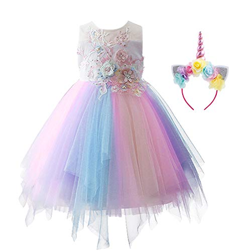 - Toddler Kid Girls Floral Embroidered Beaded Rainbow Tulle Short Gown Birthday Party Recital Evening Theatricals Communication First Communion Pastel Dress & Headband 2-3 Years