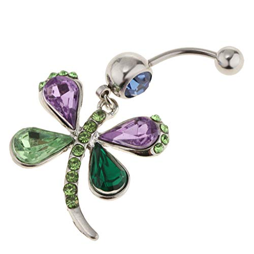 14G Rhinestone Dragonfly Navel Belly Button Rings Body Piercing -