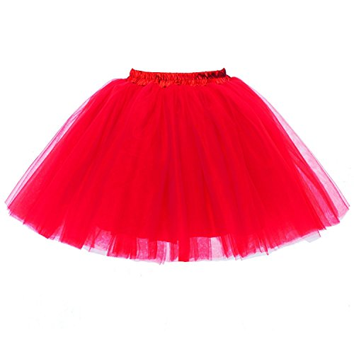 Layered Ruffle Petticoat Slip (PerfectDay Women's Mini Tutu Ballet Multi-layer Ruffle Frilly Petticoat Skirt Red)