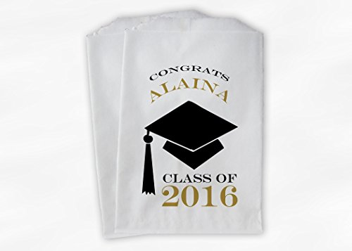 Congrats Graduate Graduation Party Favor Bags for Candy Buffet with Cap in Black and Gold - Personalized Set of 25 Paper Bags (0060)