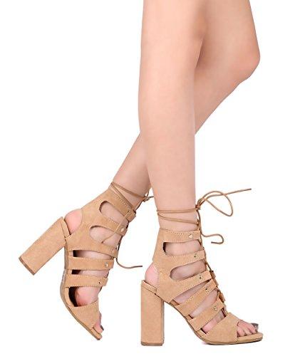 Alrisco Kvinnor Blockerar Häl Gladiator Sandal - Snörning Bur Sandal - Fotled Wrap Chunky Häl - Hb25 Genom Dbdk Samling Kamel Faux Mocka