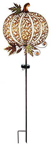 Sunset Vista Designs 14815 Pumpkin Garden Stake, Solar Powered Light (Hummingbird Crackle Feeder)