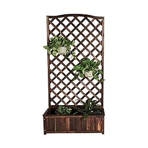 HEMFV Legno Planter Standing pianta Libera Elevazione del Letto con Trellis for Il Giardino o Cortile 6 spesavip