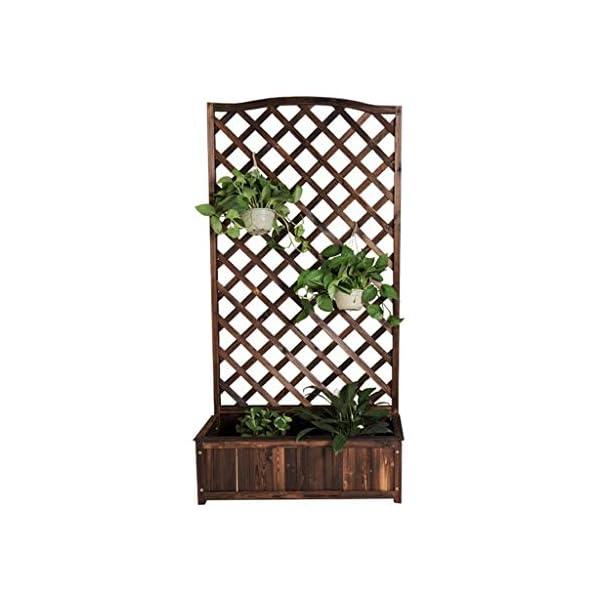 HEMFV Legno Planter Standing pianta Libera Elevazione del Letto con Trellis for Il Giardino o Cortile 1 spesavip