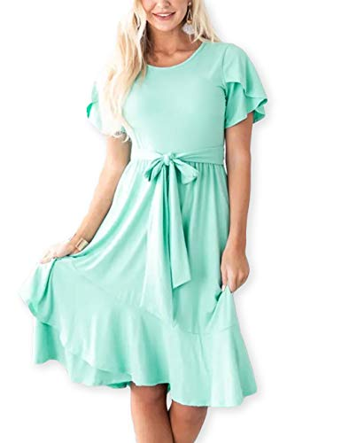 AOOKSMERY Women Casual Brief Dresses Flutter Sleeve Ruffle Midi Dress with Belt Mint