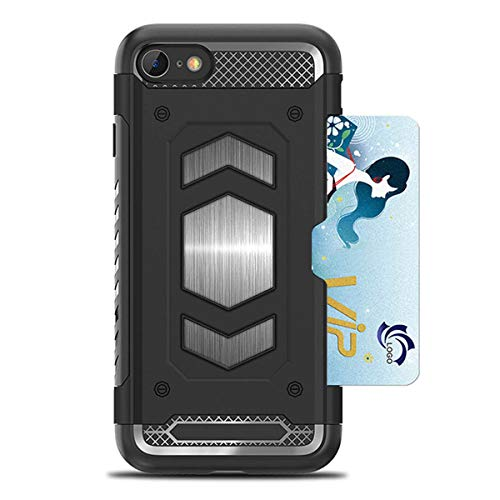 Apple Metal Plates - iPhone 8 Case,iPhone 7 Case,Heima Slim Armor Shockproof Heavy Duty Protection Dual Layer TPU&PC Hybrid Case Cover Card Holder&Magnet Metal Plate iPhone 7 / iPhone 8 (HY Series-Black)