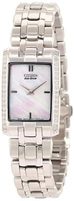 "Citizen Women's EG3170-54D ""Stiletto"" Diamond-Accented Stainless Steel Eco Drive Watch"