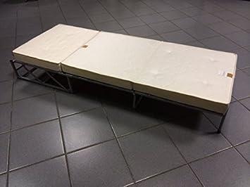 Pouf Letto Singolo con Rete a doghe e Materasso h 10cm con Memory Foam Ecopelle Beige Ponti Divani DOGA