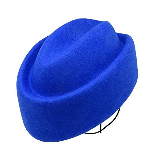 HATsanity Women's Vendimia Textura de lana Hundido Sombrerería Pillbox Azul