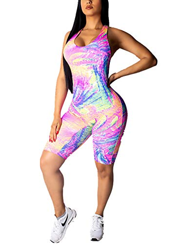 One Piece Bodycon Jumpsuit Floral Print Short Rompers Catsuit Bodysuit Purple