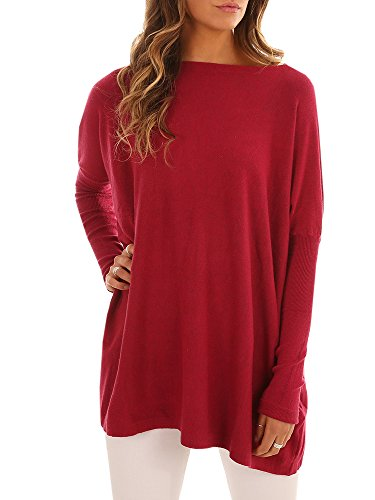 Red Boatneck Sweater - Coutgo Womens Casual Long Sleeve Sweater Dress Boat Neck Tunic Tops Loose Knitted Pullover