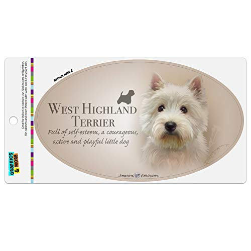 Graphics and More West Highland Terrier Westie Dog Breed Automotive Car Refrigerator Locker Vinyl Euro Oval Magnet