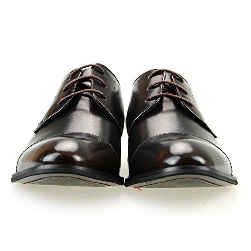 Mm / One Mens Oxford Lace-up Medaillon Rechte Punt Schoenen Werk Zwart Bruin Donker Bruin Donker Bruin