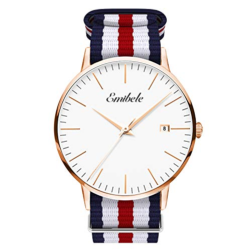 Emibele Mens Quartz Watch, Business Casual Fashion Waterproof 50M Water Resistant Quartz Wristwatch with Striped Nylon Band and Calendar Date Window for Men - Rose Gold Dial + Blue & White & Red Band