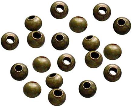 TOOGOO(R) 500-Stueck Sehr klein Metall Abstandhalter Runde Perlen fuer Schmuck machen, 3,2 mm, Antique Bronze