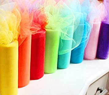 Charmed Rainbow Color Tulle Assortment 8 Pack 6 inch by 25 Yard Spool
