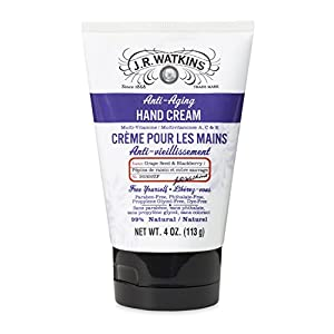 J.R. Watkins Natural Anti-Aging Hand Cream, Grape Seed & Blackberry, 4 Ounce