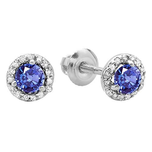 Dazzlingrock Collection 0.50 Carat (ctw) 14K Round Tanzanite & White Diamond Ladies Halo Style Stud Earrings 1/2 CT, White - Tanzanite Stud 14k