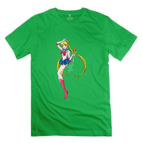 Men Sailor Moon Custom Retro ForestGreen Tee Shirts By Mjensen
