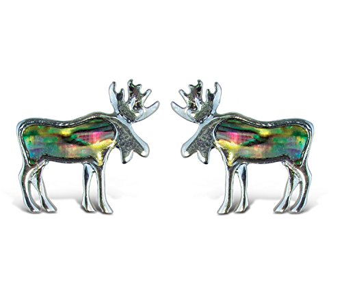 Womens Genuine Moose (Liavy's Moose Fashionable Earrings - Stud - Abalone Paua Shell - Unique Gift and Souvenir)