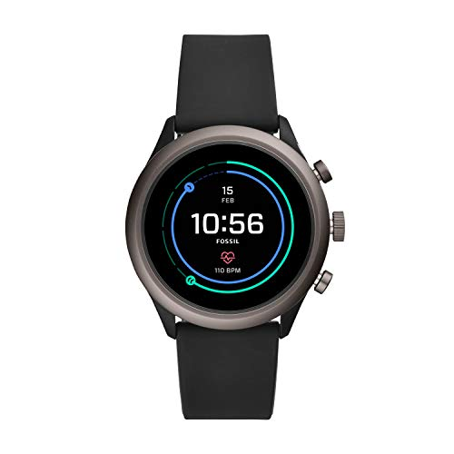 Fossil Men's Sport Heart Rate Metal and Silicone Touchscreen Smartwatch, Color: Grey, Black (FTW4019) (Fossil Watch Women Heart)