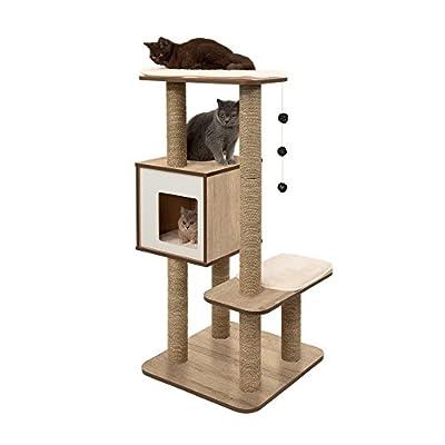 Cat Tree Vesper Cat Tree Scratching Post with Condo – Oak Furniture [tag]