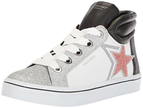 Skecher Street Women's Hi-Lite-Glitter Star Sneaker,white/black,10 M US - Sneaker Leather Hi Star