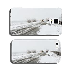 Winter landscape with highway and snow-drift in central Ukraine cell phone cover case Samsung S6