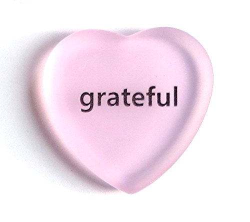 Glass Frosted Heart - Lifeforce Glass Grateful Frosted Glass Heart. Beautiful Expression of Gratitude for Your Sweetheart, Friends, Clients or Employees Pink.