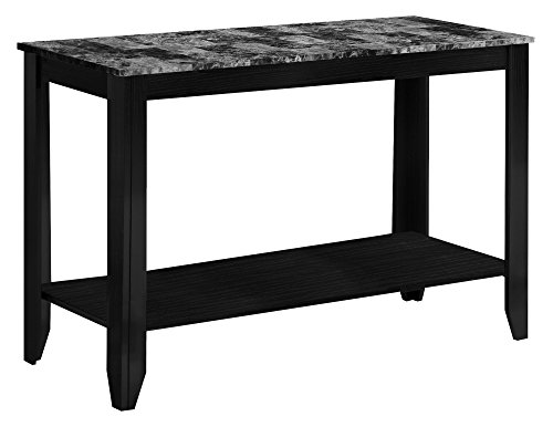 Monarch Specialties Marble-Look Top Sofa Console Table, Black/Grey