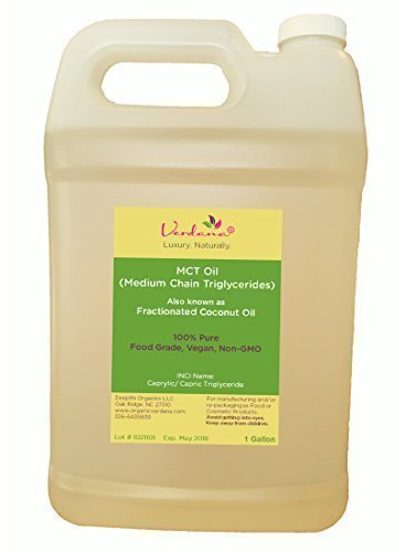 Organic Verdana Food Grade MCT Oil - 1 Gallon - Fractionated Coconut Oil - 100% Pure, True Medium Chain Triglycerides, without Long Chain for Easy Absorption - Aromatherapy Carrier Oil
