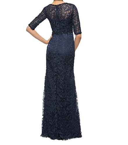 Abendkleider Royal Partykleider Festlichkleider Spitze mit Blau Charmant Ballkleider Langes Brautmutterkleider Damen Langarm nvWnYUTR