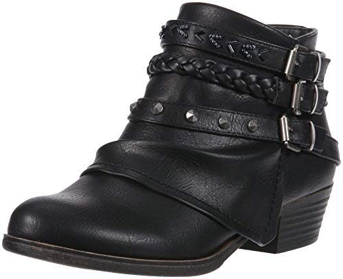 (Sugar Truth Womens Fashion Braided Buckle and Studded Strap Low Heel Ankle Boot, Black Smooth, 6.5 Medium US)