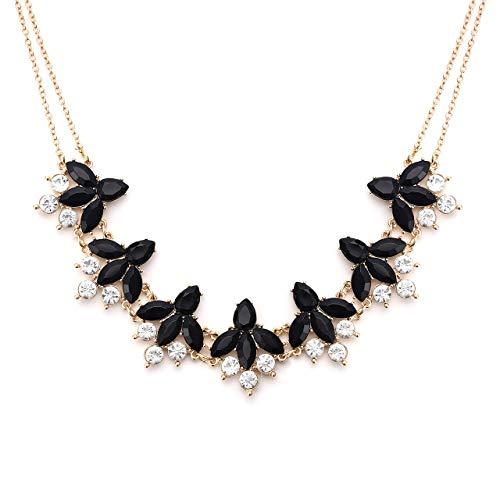 LIAO Jewelry Crystal Flower Collar Necklace for Women Chunky Rhinestone Floral Bib Statement Choker -