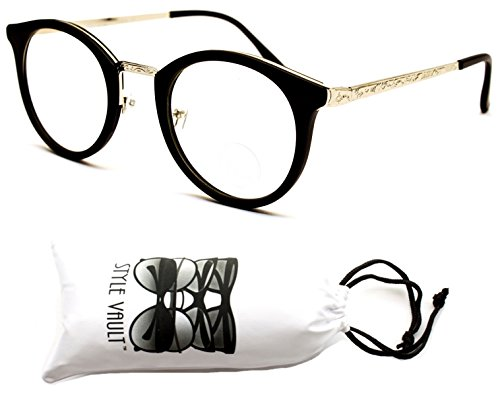 V155-vp Style Vault Round Panto Cateye Sunglasses (S3353V Mt Black/Silver-Clear Lens, - Hipster Rimmed Thick Glasses