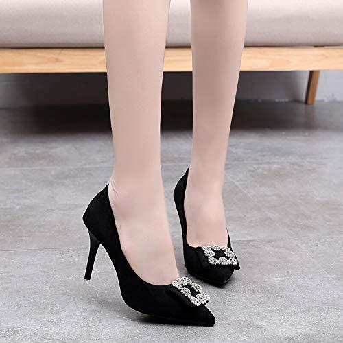 PINGXIANNV Hoher Absatz Spitzte Einfache Schuhkatze Der Quadratischen Schuhe des Schuhes Mit Den Schuhen Der Flachen Absatzstilett-Hohen Absätze Frauen