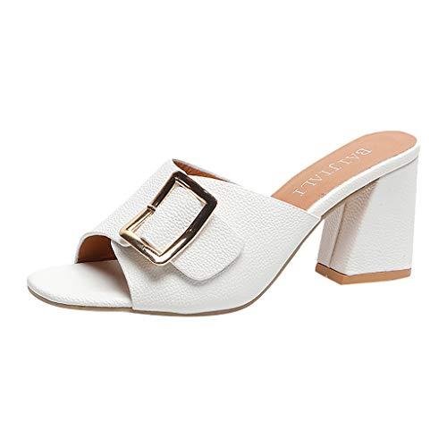 ♚Deadness-Shoes Women's Retro Open Toe Single Band Studded Clog Slip-On Chunky Platform High Heel Sandal White -