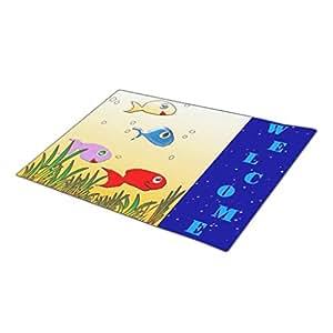 MemoryBB Monogrammed Door Mat Christmas Doormat Red Blank One size