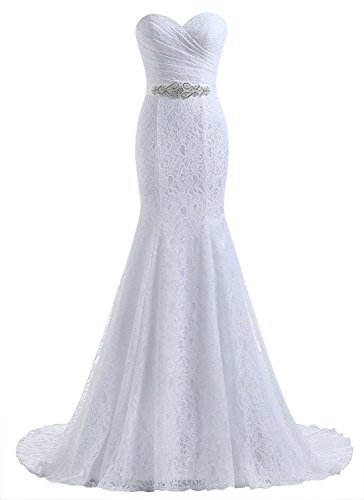 Future Girl Women's Sweetheart Beaded Pleat Lace Wedding Dress Mermaid Bridal Gown White,14