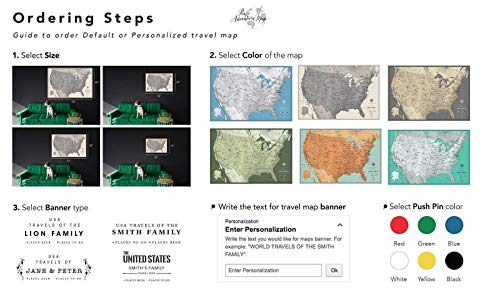 United States Travel Map Canvas - Multiple Customization and  Personalization Options