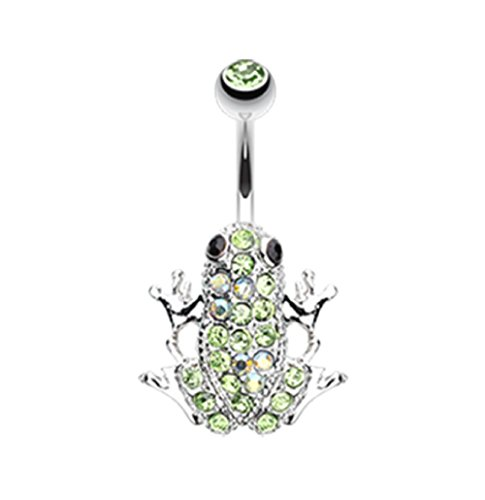 Amazon Frog Multi-Gem 316L Surgical Steel Freedom Fashion Belly Button Ring (Sold Individually) (14GA, 3/8