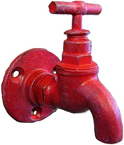 """Vintage-Look Non-Working Red Faucet Spigot Shaped Cast Iron 3.5/"""" x 4/"""" COAT HOOK"""