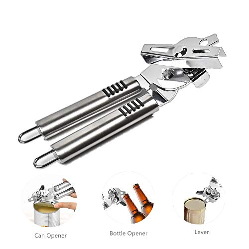 Can Opener Manual - Smooth Edge Heavy Duty 3in1 Stainless Steel Tin Opener,Built-in Beer Bottle Opener,Good Grips for Seniors with Arthritis Hands,Handy Commercial Safety Kitchen Cooking Utensils