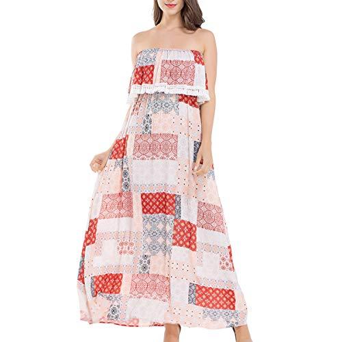 JTANIB Women's Strapless Boho Sexy Summer Beach Maxi Dress with Tassel