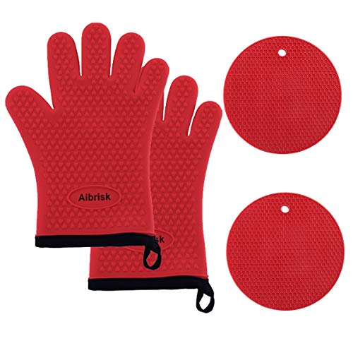 Aibrisk Silicone Oven Mitts and Pot Holders,4PCS Thicken Heat Resistant Flexible Non-Slip Surface Cooking Gloves and Potholders Trivet Mats for Safe Oven BBQ Kitchen Counter Hot Dishes or Pans(Red)